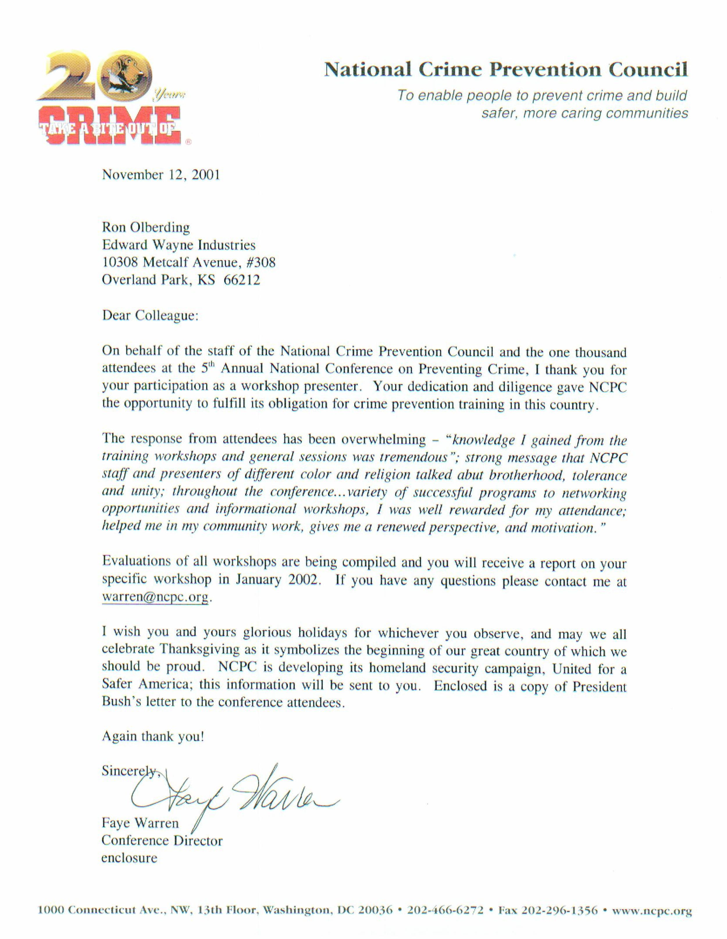 Physical Home Defense Letter from National Crime Prevention Council