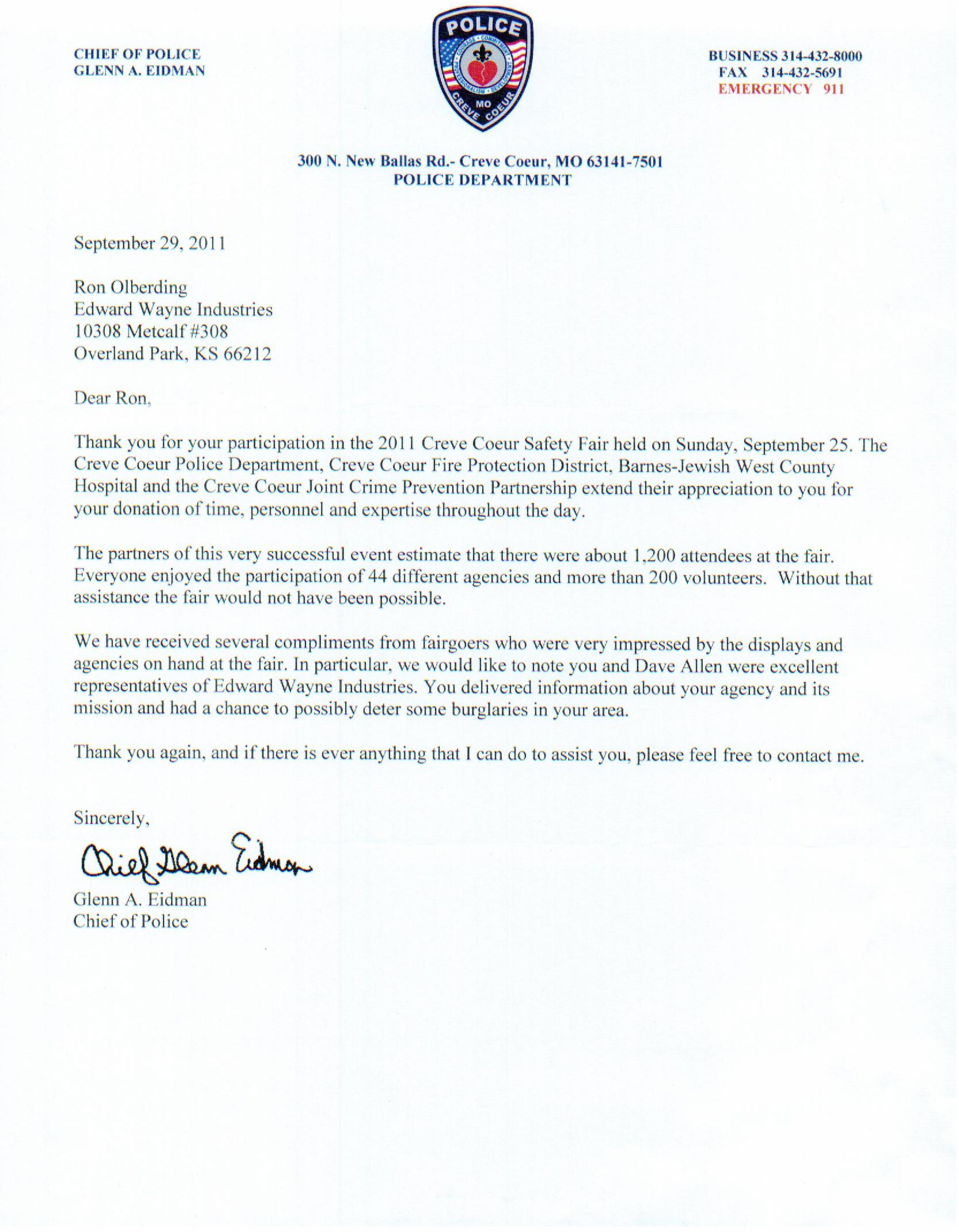 Physical Home Defense Letter from Creve Coeur 2011