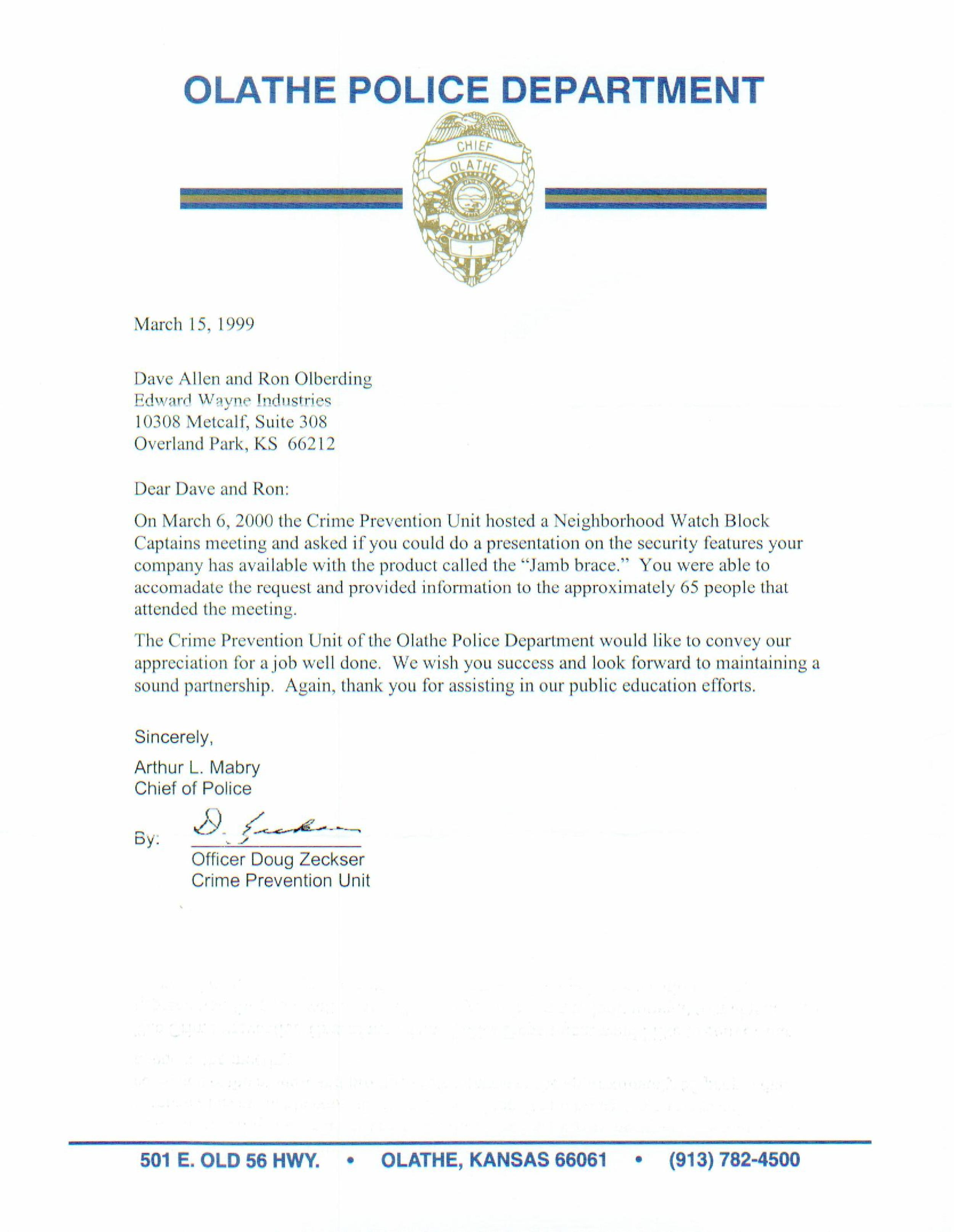 Physical Home Defense Letter from Olathe PD
